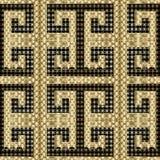 Geometrisk guld- texturerad modell för vektor för grek 3d sömlös Dekorativ elegans snör åt bakgrund Upprepa det dekorativa modern vektor illustrationer
