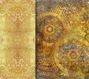 Geometrisk guling texturerad bakgrund med guld- bespruta Fotografering för Bildbyråer