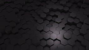 Geometrisk Intro för abstrakt sexhörning Animerat ytbehandla öglaslängd i fot räknat Mörk sexhörnig bakgrund för rastermodell som arkivfilmer