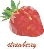 Geometrisk jordgubbe som dras i låg-poly Arkivfoton