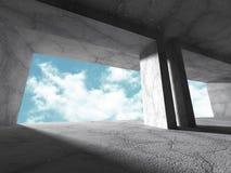 Geometrisk konkret arkitektur Töm backgr för den moderna designen för rum Arkivfoto