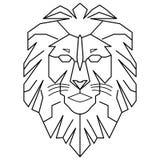 Geometrisk lejonlogokonung som går linjen nedladdning för konstöversiktsvektor stock illustrationer