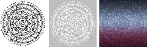 Geometrisk mandala för färgläggningbok Fyrkantig lutningbakgrund med den runda modellen Arkivfoto