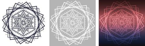 Geometrisk mandala med davidsstjärnan i mitt Royaltyfri Foto