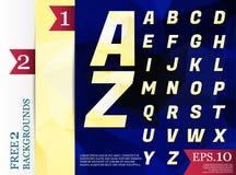 Geometrisk modell Crystal Font för polygonal alfabetbakgrund av Arkivbild