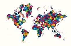 Geometrisk modell för dekorativt världskartaabstrakt begrepp stock illustrationer
