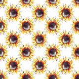 Geometrisk modell för härliga ljusa grafiska solrosor för höst underbara färgrika gula orange växt- blom- royaltyfri illustrationer