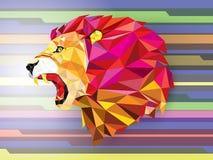 Geometrisk modell för ilsket lejon på abstrakt bakgrundsvektorillu Royaltyfri Fotografi