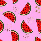 Geometrisk modell för sömlös vattenmelon, vektorillustration Royaltyfri Foto