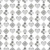 Geometrisk modell för sömlös vektor med symboler av att spela kort bakgrund med hand drog texturerade geometriska diagram Pastell royaltyfri illustrationer