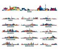 Geometrisk modellhorisontstad Amerika och Europa stock illustrationer