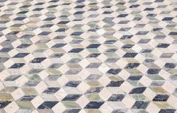 Geometrisk modelltegelplatta i Pompeii Italien Arkivfoton