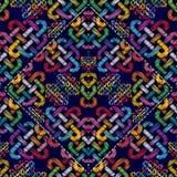Geometrisk modern sömlös modell för färgrik broderi Grunge bl Royaltyfria Bilder