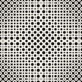 Geometrisk monokrom rastrerad sömlös modell för vektor med cirklar, cirklar, prickar stock illustrationer