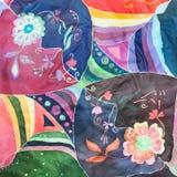 Geometrisk och blom- prydnad på siden- batik Fotografering för Bildbyråer