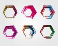 Geometrisk pentagon Abstrakt symbol för affär Som tecken symbol, logo, rengöringsduk, etikett Royaltyfri Foto