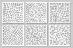 Geometrisk prydnad för fastställd modell Kort för laser-klipp Dekorativ design för beståndsdel stock illustrationer