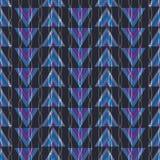 Geometrisk purpurfärgad, blå, rosa och grön illustration med trianglar och vertikala kedjade fast band vektor illustrationer
