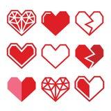 Geometrisk röd hjärta för valentin dagsymboler Arkivbild