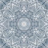 Geometrisk rund monokrom prydnadarabesque för Mandala stock illustrationer