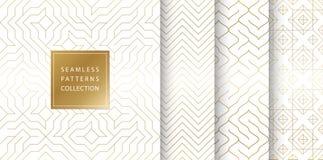 Geometrisk sömlös guld- modellbakgrund Enkelt vitt tryck för vektordiagram Upprepa linjen abstrakt texturuppsättning minimalistic vektor illustrationer