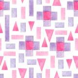 Geometrisk sömlös modell för abstrakt vattenfärg Trianglar med den aztec prydnaden, vattenfärgen och grungetexturer geometriskt royaltyfri illustrationer