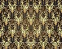 Geometrisk sömlös modell för art décostil i svart och guld Vec vektor illustrationer
