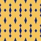 Geometrisk sömlös modell för enkel vektor med romber Marinblåa och gula färger royaltyfri illustrationer