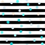 Geometrisk sömlös modell för gullig vektor Prickar och band var den abstrakt borsten målad verklig slaglängdtextur till spårat Ha Royaltyfri Fotografi