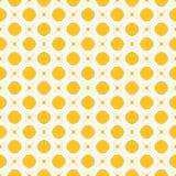Geometrisk sömlös modell för skraj gul vektor med cirklar, fyrkanter och kors vektor illustrationer