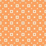 Geometrisk sömlös modell för skraj orange vektor med små fyrkanter och prickar stock illustrationer