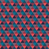 Geometrisk sömlös modell för trianglar i grå färgblått och rosa färger, vektor Arkivfoton
