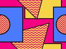 Geometrisk sömlös modell i den memphis stilen av 80-tal Prickar och prickiga linjer Beståndsdelar av stilbauhaus vektor royaltyfri illustrationer