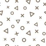 Geometrisk sömlös modell med bruna trianglar, kors och cirklar på vit bakgrund vektor stock illustrationer