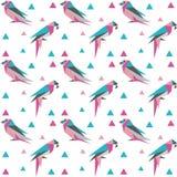 Geometrisk sömlös modell med origamifåglar stock illustrationer