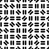 Geometrisk sömlös modell - memphis design Svart gjord randig textur royaltyfri illustrationer