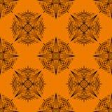 Geometrisk sömlös modell på apelsinen royaltyfri illustrationer