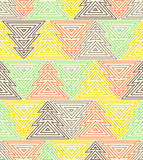 Geometrisk sömlös upprepande modell Julgran linjär stil för översikt Royaltyfria Bilder