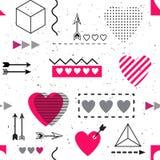 GEOMETRISK SÖMLÖS VEKTORMODELL FÖR MODERIKTIG FÖRÄLSKELSE OLIK MÅLAD KONSTTEXTUR FÖR SYMBOL HJÄRTA Hjärta för två rosa färg royaltyfri illustrationer