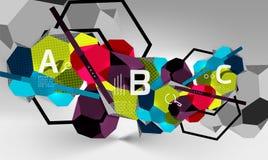 geometrisk sammansättning för sexhörning 3d, geometrisk digital abstrakt bakgrund Royaltyfria Foton