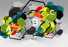 geometrisk sammansättning för sexhörning 3d, geometrisk digital abstrakt bakgrund Royaltyfri Bild