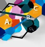 geometrisk sammansättning för sexhörning 3d, geometrisk digital abstrakt bakgrund Arkivfoto