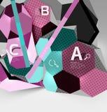 geometrisk sammansättning för sexhörning 3d, geometrisk digital abstrakt bakgrund Royaltyfri Fotografi