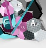geometrisk sammansättning för sexhörning 3d, geometrisk digital abstrakt bakgrund Royaltyfria Bilder