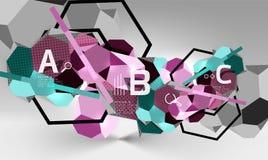 geometrisk sammansättning för sexhörning 3d, geometrisk digital abstrakt bakgrund Arkivfoton
