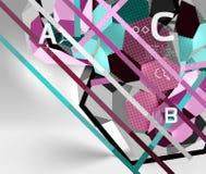 geometrisk sammansättning för sexhörning 3d, geometrisk digital abstrakt bakgrund Royaltyfri Foto