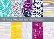 Geometrisk seamless modellbakgrund Uppsättning av 10 abstrakta texturer Royaltyfri Fotografi