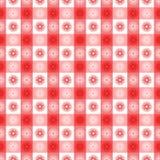 Seamless röd gingham med blom- mönstrar vektor illustrationer