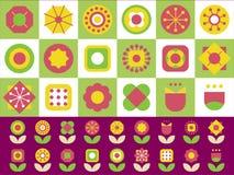 18 geometrisk signal för formblommabeståndsdelar 2 vektor illustrationer