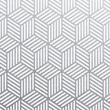 Geometrisk silver 3D skära i tärningar den sömlösa modellen med blänker textur av abstrakt begrepp vävde linjer på vit bakgrund V royaltyfri illustrationer